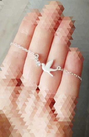Srebrny łańcuszek celebrytka naszyjniki jaskółka z cyrkoniami