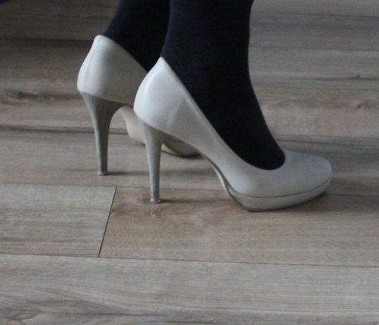 Beżowe szpilki platforma 37, jasne buty wysoki obcas 37