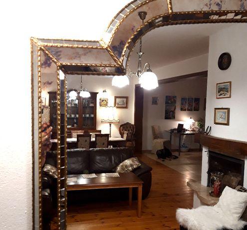 Unikatowe włoskie lustro glamour lustrzana rama mosiądz 200 x 110
