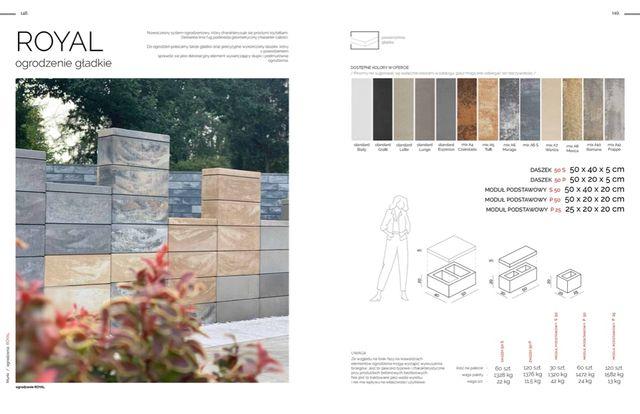 Ogrodzenie nowoczesne gładkie ROYAL, kamienie, grys, otoczak