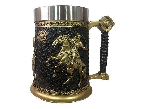 Кружка Чашка 3D Skull Mug Пивная кружка Рыцарь на коне 3D Крестоносец