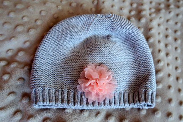 Bawełniana, dzianinowa czapeczka z kwiatkiem 86/92, czapka 2 latka
