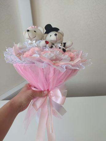 Свадебный букет из мягких игрушек оригинальный подарок