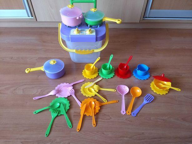 """Набор посуды Ромашка ТМ """"Tigres""""  с плитой  в ведре+чайный сервиз."""