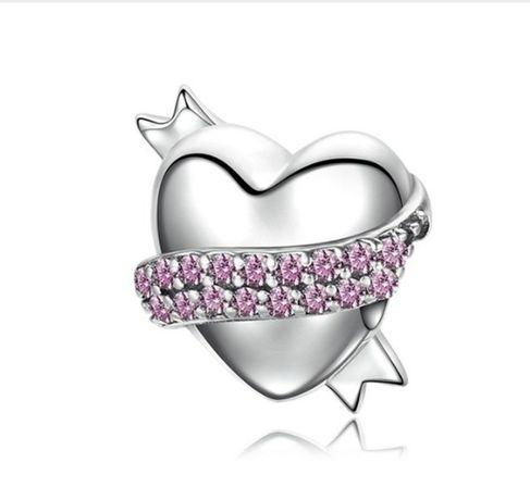 Charms PANDORA srebro 925 serce wstążka miłość cyrkonie
