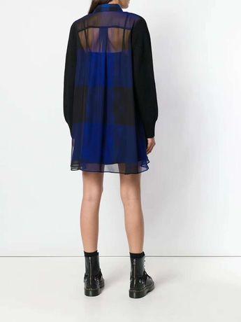 Wełniana sukienka tunika kratka tiul model Sacai M/L