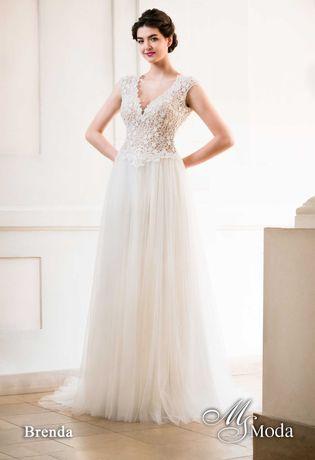 Suknia ślubna MS Moda, model Brenda, kolor ivory, kolekcja 2020.