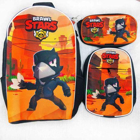 Бравл Старс школьный набор рюкзак,сумка,пенал Леон,Ворон,Спраут,Акула