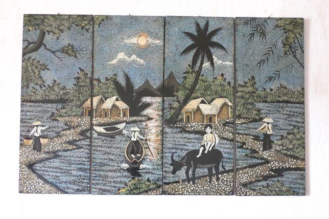 obraz z laki malowany skorupkami jajek,oryg. vietnamski