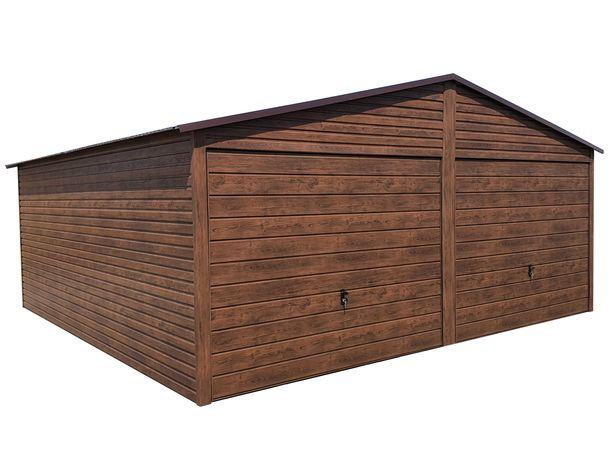 Garaż Blaszany Blaszak DREWNOPODOBNY Garaże Złoty Dąb ORZECH 6x5 6x5.5