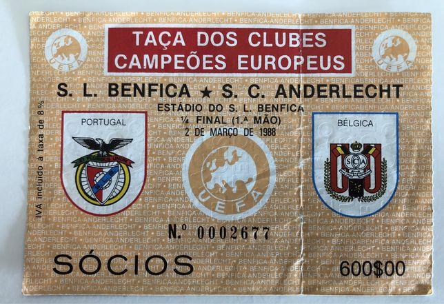 Bilhete Benfica x Anderlecht quartos finais, campeões europeus, 1988