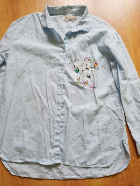 Koszula zara błękitna z nadrukiem 152