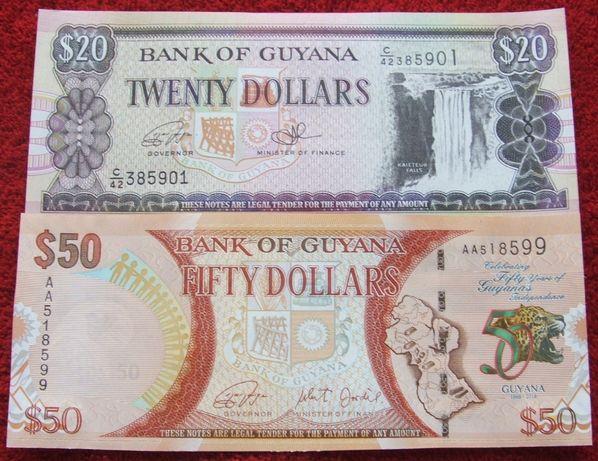 GUJANA Kolekcjonerskie Banknoty Zestaw - 2 sztuki UNC