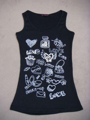 nowa bluzka / koszulka z perełkami i jetami dla dziewczynki 9 / 10 lat