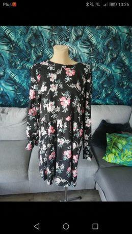 R. XL nowa sukienka wiązana na szyi w kwiaty r Xl