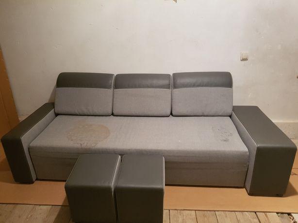 Łóżko z Agaty rozkładane kanapa wersalka + 2 pufy