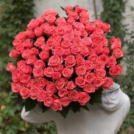 Букет Роз. 101 роза. 51 роза. Недорого. Свежая!