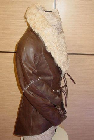Przepiękna skórzana kurtka Apart-ocieplona ,karakuła roz.36