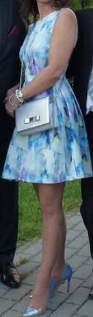 KOTON rozkloszowana sukienka,niebieska w motyle