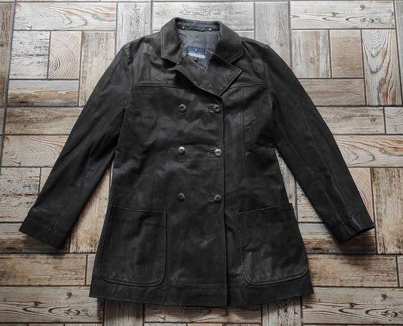 Женское кожаное пальто плащ куртка Trussardi Sport