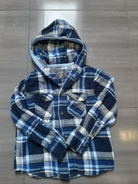 Fajna Koszula w kratę H&M 122cm z kapturem , 6-7lat.Wysylka tylko 5zł