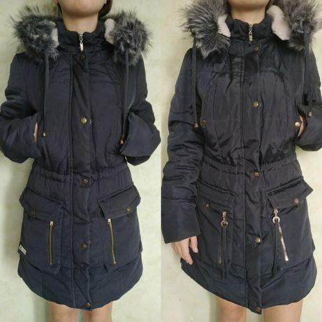 Куртка, парка, пальто, синяя, зимняя, тёплая, синяя
