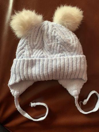 Шапка зимова з помпонами з кролика бавовняна підкладка шапочка