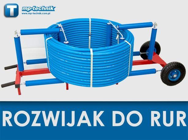 Mobilny rozwijak do rur PERT, HDPE 32, 40, 50 mm z kręgów, odwijak