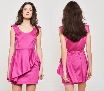 Simple _ różowa sukienka mini z falbaną r. 36