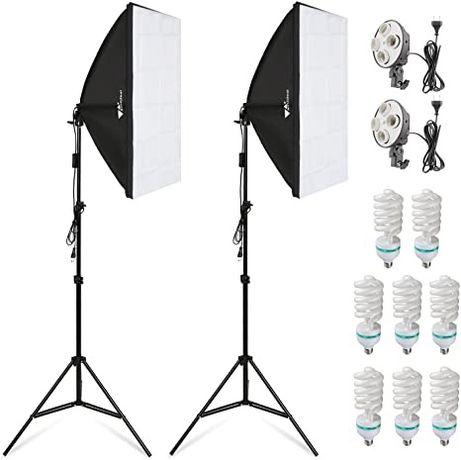 Постоянный студийный свет(Софтбоксы+дердатели+стойки+лампы 8шт+сумка
