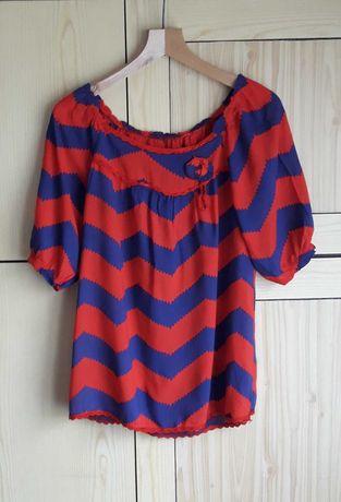 Bluzka L zygzaki bufiaste rękawki MADE IN ITALY koszulka t-shirt