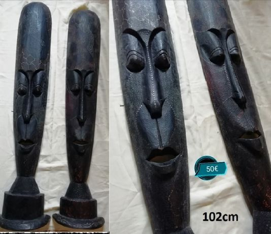 Máscaras africanas, mesa, tela, gravador de fita
