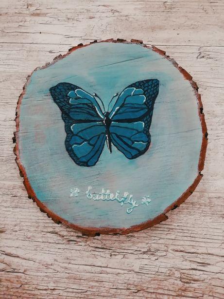 Obraz na plastrze drewna motyl, ok. 29cm