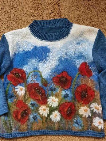 """свитер вязаный с валяной полочкой """"Маковое поле"""""""