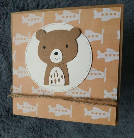 Kartka urodzinowa ręcznie robiona dla dziecka miś