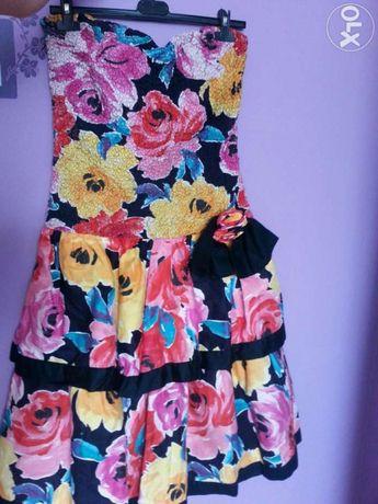 Sukienka rozkloszowana baskinka kwiaty M/L