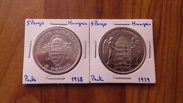 2 Moedas 5 Pengo Hungria 1938 / 39
