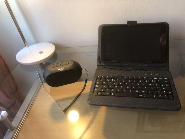 Tablet + teclado+ coluna bluetooth
