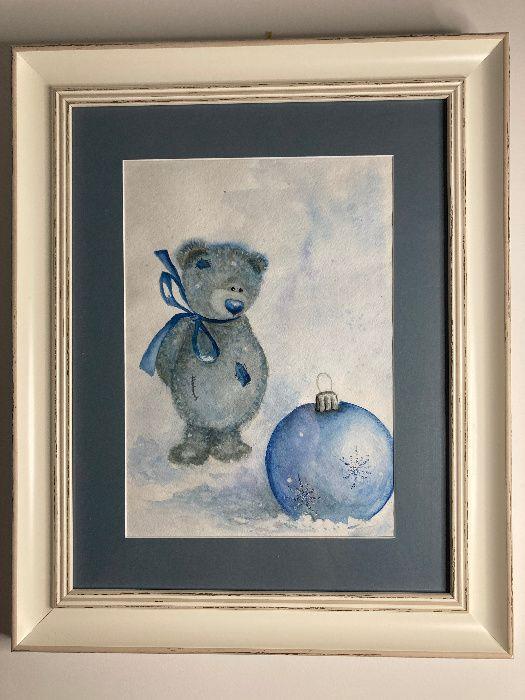 """Картина акварель """"Різдвяний ведмедик"""" Чернигов - изображение 1"""