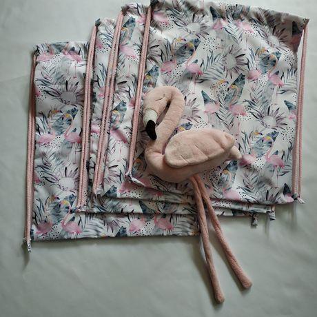 Worki plecak flamingi hand made