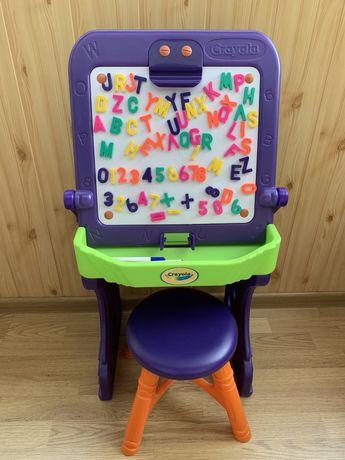 Мольберт магнитный, парта Crayola со стульчиком