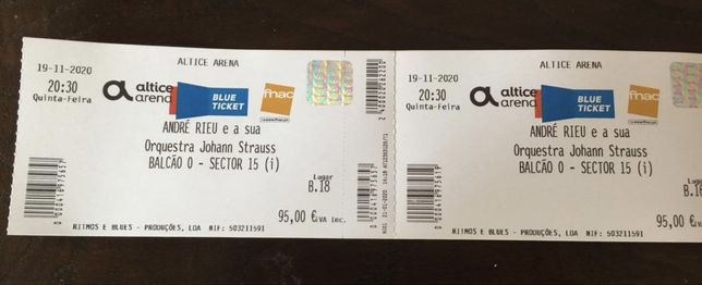 André Rieu - 2 bilhetes para concerto de 02/12/2021