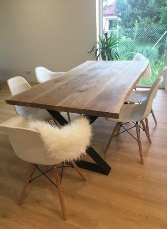 Blat dębowy LIVE EDGE naturalna krawędź stół nowy z nogami X producent