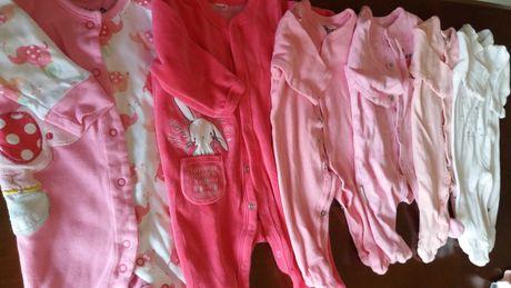 20 szt ubranka dla dziewczynki r 62 biel róż firmowe