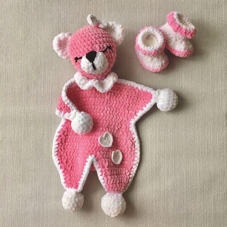 Kocyk miś i buciki - miękki komplet dla malucha na szydełku handmade