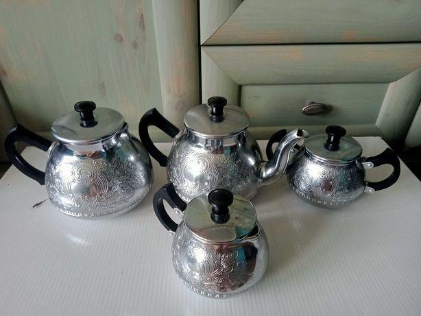 Metalowy grawerowany ozdobny komplet do herbaty