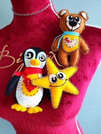 брошка пінгвін,ведмедик,зірочка з фетру