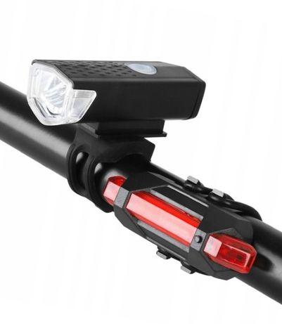 Lampa lampki led rower hulajnoga zestaw akumulator kpl.