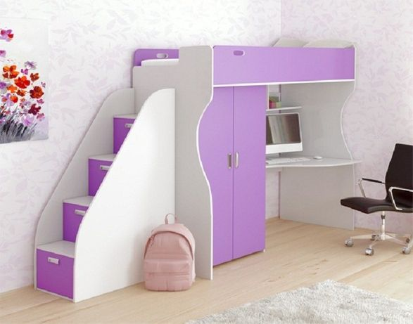 Кровать-чердак, детская кровать-чердак с рабочей зоной