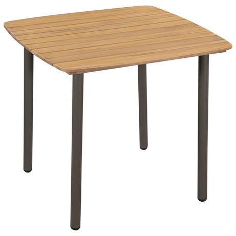 vidaXL Mesa de jardim 80x80x72 cm madeira de acácia maciça e aço 44233